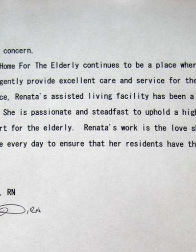 Renata's Assisted Living Home Testimonials